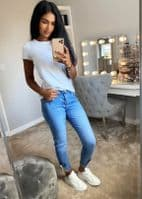Lace Ankle Skinny Fit High Rise Jean